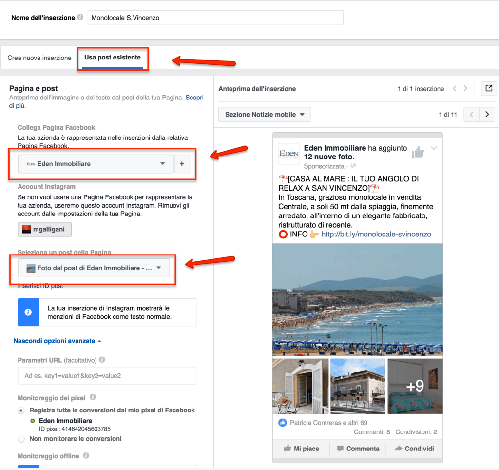 post sponsorizzato facebook ads immobiliare